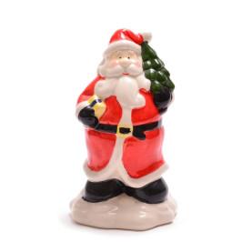 Декоративна, керамична фигурка - касичка, Дядо Коледа с елха