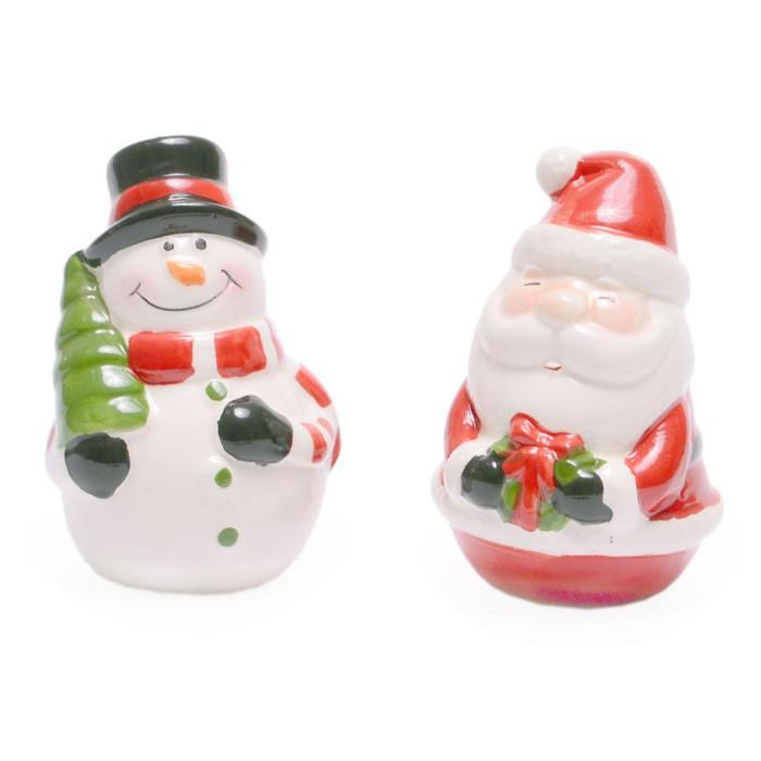 Комплект от два броя керамични коледни солници - снежен човек и Дядо Коледа, подходящи за празничната трапеза