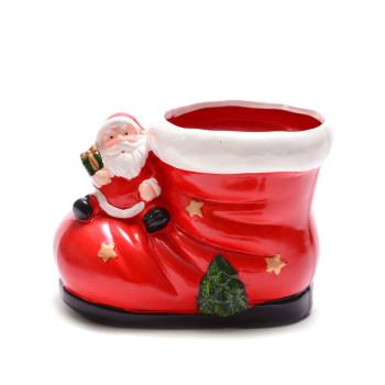 Декоративна фигурка - червен ботуш с Дядо Коледа и елхичка, подходящ за тематична декорация