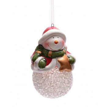 Декоративна светеща фигурка - Дядо Коледа или снежен човек, с възможност за окачване