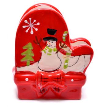 Керамичен салфетник със снежен човек, подходящ за Коледната трапеза