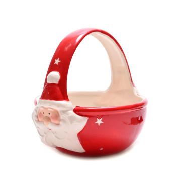 Керамична кошничка с Дядо Коледа, подходяща за празничната трапеза