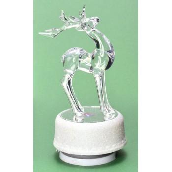 Декоративна, светеща фигурка - елен върху поставка - огледало