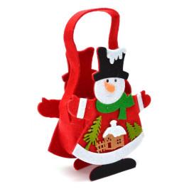 Декоративна фигурка - кошничка с дръжка - снежен човек, къщичка и елхички