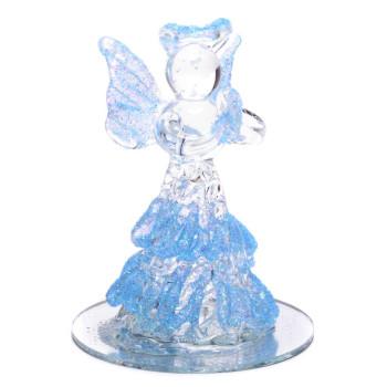 Декоративна, светеща фигурка - ангел с дълга рокля с брокат, върху поставка - огледало