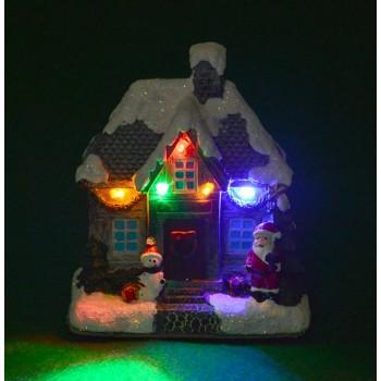Декоративна, светеща, коледна фигурка - заснежена къщичка с Дядо Коледа, снежен човек и подаръчета