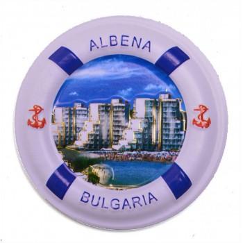 Сувенирна фигурка с магнит - спасителен пояс с изглед на хотели от Албена