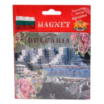 Сувенирна магнитна пластина-пъзел с лазерна графика - забележителности от Албена и рози