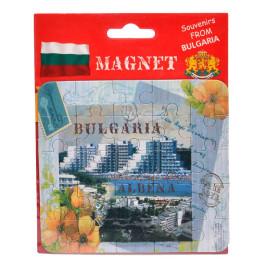 Сувенирна магнитна пластина-пъзел с лазерна графика - изгледи от Албена и цветя