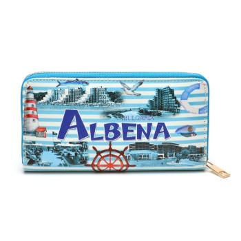 Цветно портмоне от изкуствена кожа - Албена, декорирано с морски фар, рул и изгледи от Албена