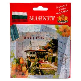 Сувенирна магнитна пластина-пъзел с лазерна графика - двореца в Балчик и цветя
