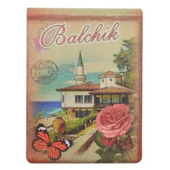 Сувенирен джобен тефтер, декориран със забележителности от Балчик