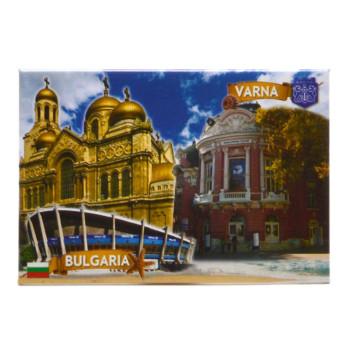 Сувенирна пластинка - картичка с магнит, декорирана с Варненската катедрала, опера и спортна зала
