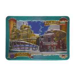 Магнитна пластинка - картичка - Варненската катедрала, опера и спортна зала