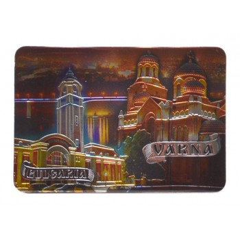 Сувенирна пластинка - картичка с магнит, декорирана с изглед на нощтна Варна