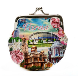 Сувенирно малко портмоне от изкуствена кожа с изобразени: забележителности от Варна, рози