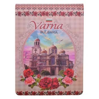 Сувенирен джобен тефтер, декориран с Варненската катедрала и рози