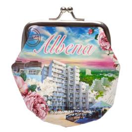 Сувенирно малко портмоне от изкуствена кожа с изобразени: хотели на крайбережната ивица и надпис - Албена
