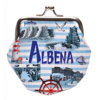 Сувенирно малко портмоне от изкуствена кожа с изобразени: хотели от Албена