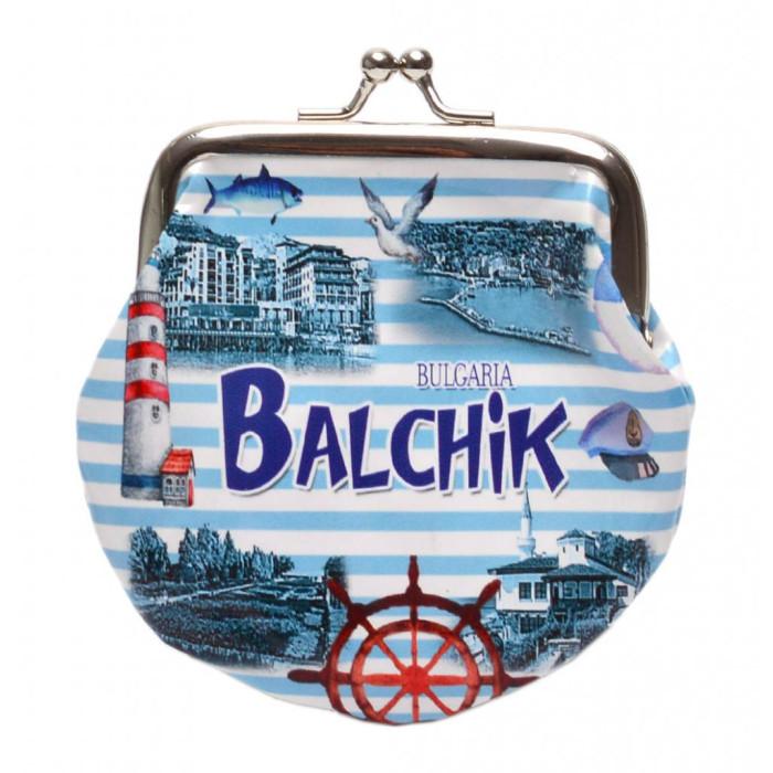 Сувенирно малко портмоне от изкуствена кожа с изобразени: изгледи от Балчик