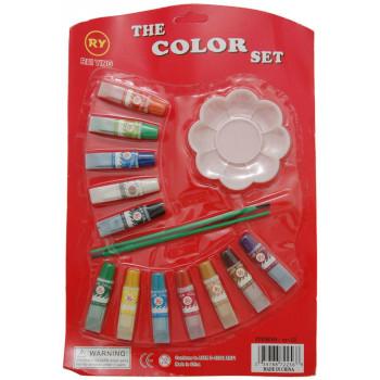 Комплект от 12 цвята темерни бои за рисуване с четки и малка палитра