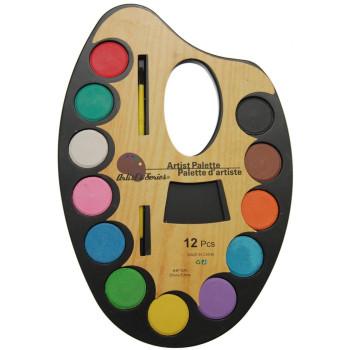 Палитра от 12 цвята водни бои с четка