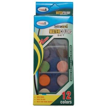 Комплект от 12 цвята водни бои за рисуване с четка в кутийка