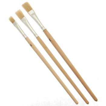 Комплект три броя плоски четки с естествен косъм и дървена дръжка