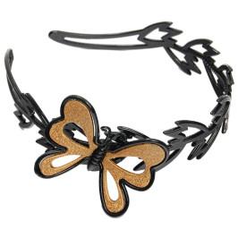 Диадема с черна основа от цветна пластмаса и декоративна фигурка - пеперудка