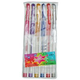 Комплект 6 броя химикали с клипс и капачка - различни цветове с брокат