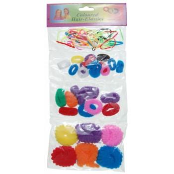 Комплект от 4 различни вида ластик за коса - цветни