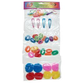 Комплект от 4 различни вида ластичета и 4 фибички за коса