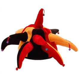 Цветна карнавална шапка от нежно кадифе със звънчета
